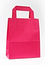 Fuchsia Paper Carrier Bags With External Taped Handles SOS - Thumbnail