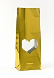 Gold Heart Window Metalized Printed Small Bag - Thumbnail
