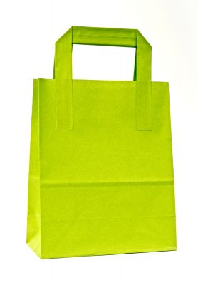 Pistachio Green Paper Carrier Bags With External Taped Handles SOS