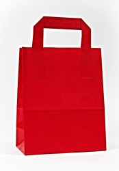 - Red Paper Carrier Bags With External Taped Handles SOS
