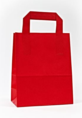 Red Paper Carrier Bags With External Taped Handles SOS