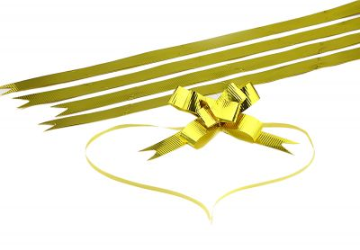 Small Bright Gold Strips Pull Bow