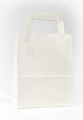 White Paper Carrier Bags With External Taped Handles SOS