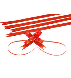 - Medium Red Gold Strips Pull Bow