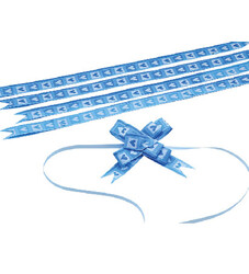 - Small Blue Hearts Pull Bow