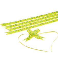 - Small Green Yellow Hearts Pull Bow